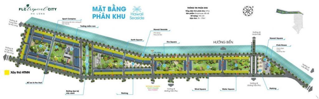 Mặt bằng phân khu hawail Seaside dự án FLC Tropical Hạ Long