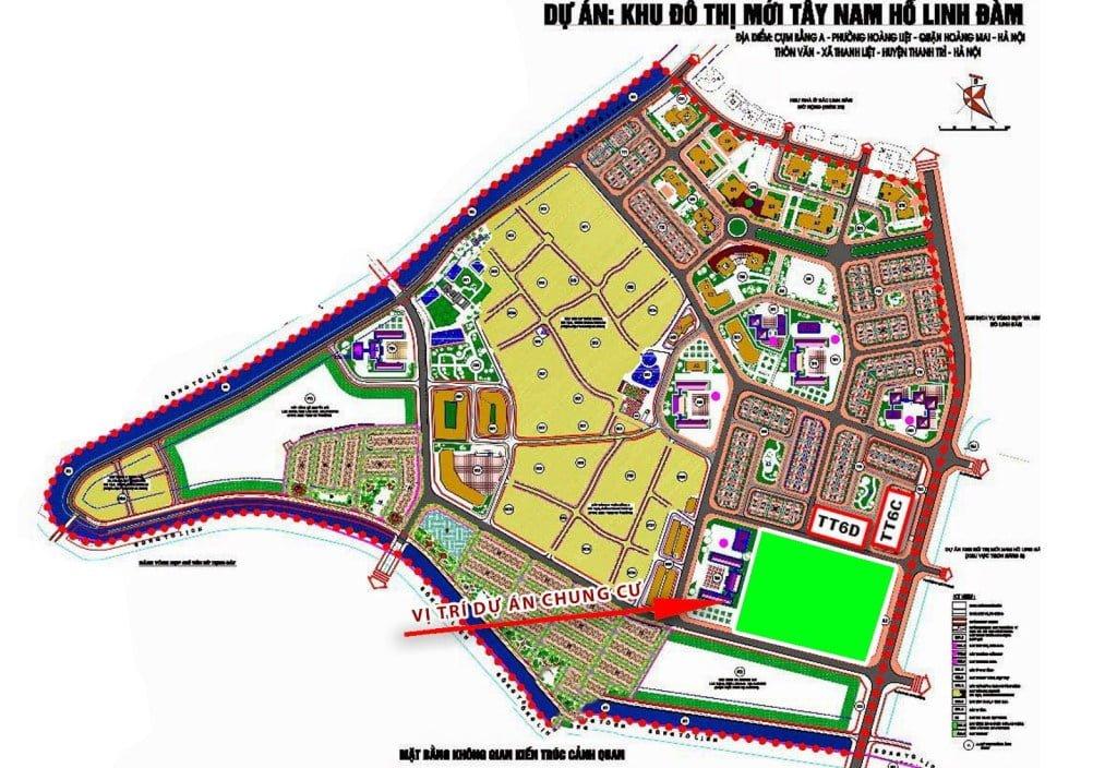 Vị trí chung cư Hưng Thịnh tại Linh Đàm Hoàng Mai